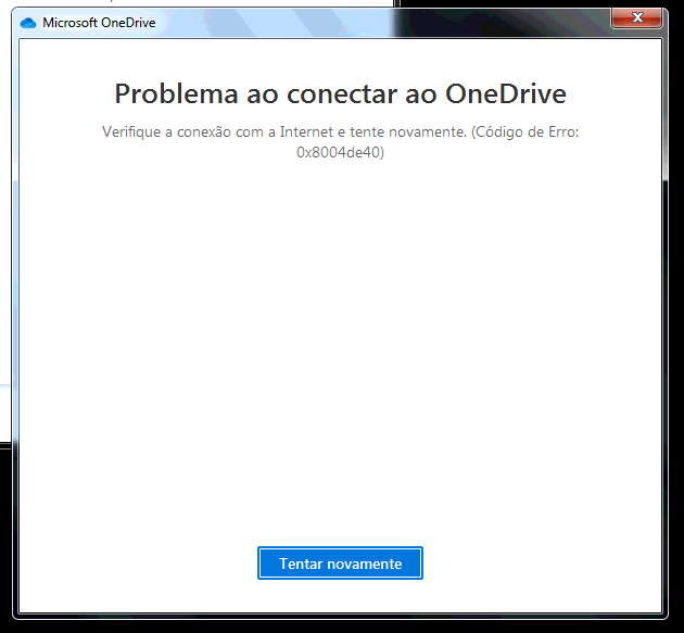 erro OneDrive não conecta, código de erro 0x8004de40